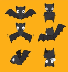Set of bat cartoon with different actions vector