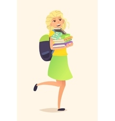 Schoolgirl backpack and books vector