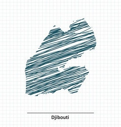 Doodle sketch of djibouti map vector