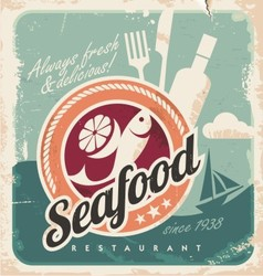 Vintage poster for seafood restaurant vector