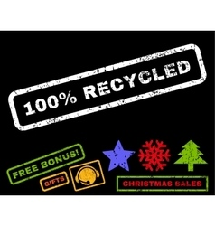 100 percent recycled rubber stamp vector