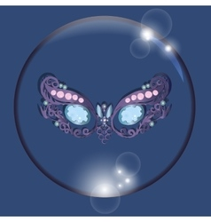 Mask in bubble with reflections blue background vector