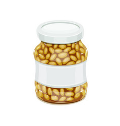 Glass jar with bean vector