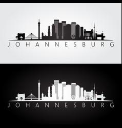 johannesburg skyline and landmarks silhouette vector image