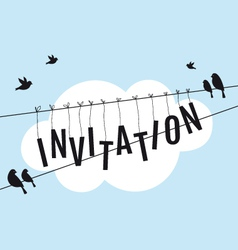 Birds on wire in blue sky vector