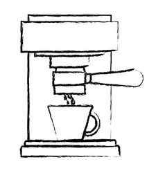 Coffee espresso machine front view monochrome vector