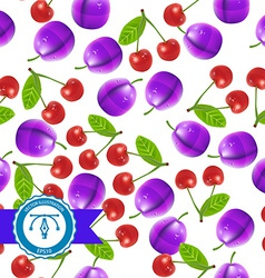 Cherry and plum seamless pattern vector