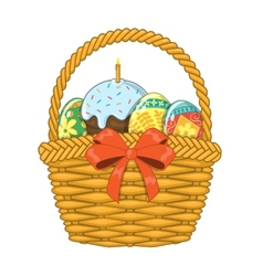 Basket with easter eggs and cake vector