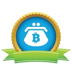 Bitcoin purse round icon vector