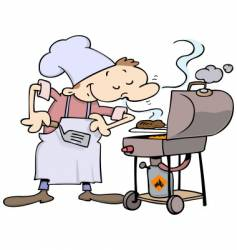 Chef grilling burgers vector