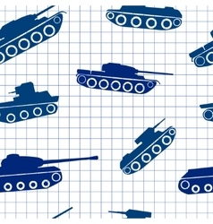 Seamless pattern ink silhouettes of tanks vector