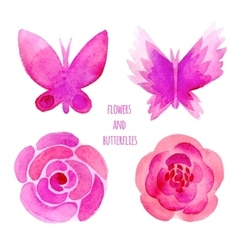 Watercolor flowers and butterflies set vector