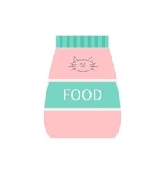 Pet cat dry food feed in plastic bag kitty face vector
