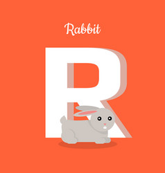 Animals alphabet letter - r vector