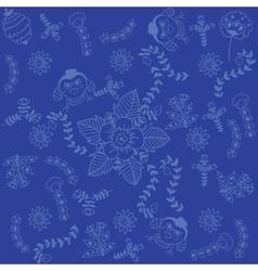 Blue backgrounds flower doodle art vector