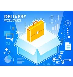 Bright delivery box and work suitcase on blu vector