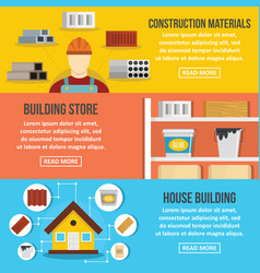 Building store banner horizontal set flat style vector