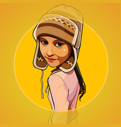 Cartoon girl in a warm knitted hat vector
