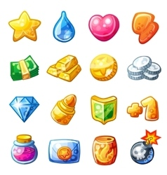 Cartoon resource icons for game user interface vector