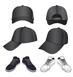 Colored outlined sneakers baseball cap set vector