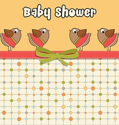 Delicate baby shower card with dressed birds vector image vector image