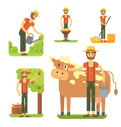 Farmers using agricultural tools set farmer vector
