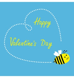 Flying bee Big dash heart in the sky Valentines vector image