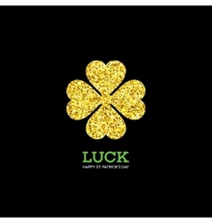 Golden Shamrock Patrick day simbol vector image vector image