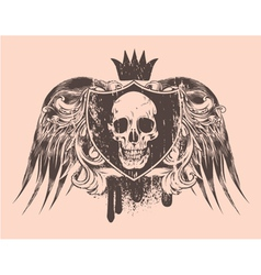 Grunge t-shirt design with skull vector
