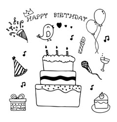 happy birthday hand drawn doodle set vector image vector image