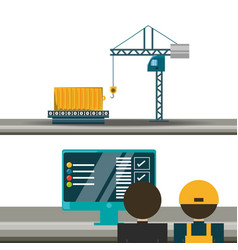 Logistic agent with container and crane vector