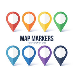 Map markers rainbow colors set isolated on vector
