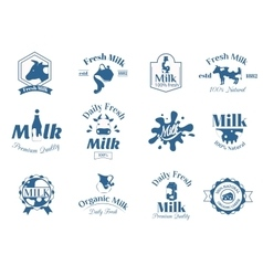 Milk label logo badges collection icons vector image