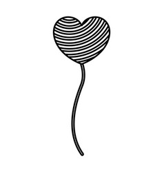 Monochrome silhouette of balloon in heart shape vector