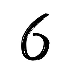 number 6 painted by brush vector image vector image