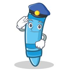 Police crayon character cartoon style vector