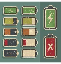 Retro grunge battery level indicator kit vector