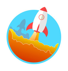 Rocket and the space rocket launch concept icon vector