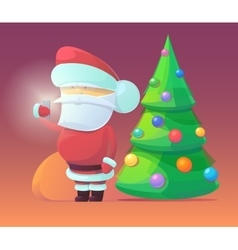 Santa claus with firtree vector