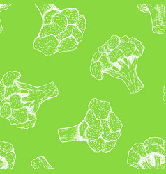 seamless pattern with broccoli background vector image