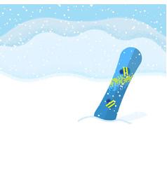 snowboard on landscape background vector image