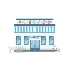Supermarket commercial building facade design vector