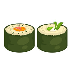 Sushi rolls flat icons for japanese cuisine vector