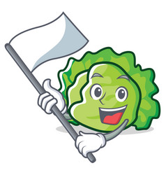With flag lettuce character mascot style vector