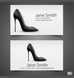 Womens shoe business card vector