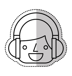 Young man avatar with headset character vector