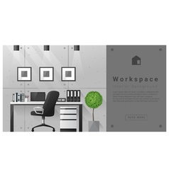 Interior design modern workspace background 8 vector