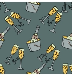 Seamless pattern with champagne glass for vector
