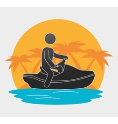 silhouette man jet ski beach background vector image