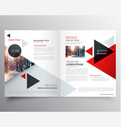 Business bifold brochure or magazine cover design vector